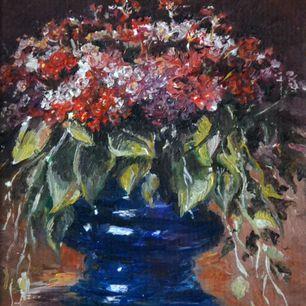 Флоксы в синей вазе